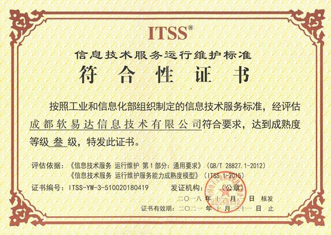 ITSS 信息技术服务运行维护三级证书